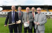 3 September 2012; Font row Eamon Gillen, Pat Hasson, and Eamon McMahon, Trustees of Casement Park, along with GAA Ard Stiúrthoir Paraic Duffy and Danny Murphy, Ulster GAA secretary, at the annoucement by Ulster GAA Council of the appointment of World renowned Stadium Designers Mott McDonald Ltd for the design of the new stadium on the site of Casement Park, Belfast. Announcement of Casement Park Stadium Redevelopment, Casement Park, Belfast, Co. Antrim. Picture credit: Oliver McVeigh / SPORTSFILE