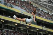 1 September 2012; A Notre Dame cheerleader during the game. NCAA Emerald Isle Classic, Navy v Notre Dame, Aviva Stadium, Lansdowne Road, Dublin. Picture credit: Pat Murphy / SPORTSFILE