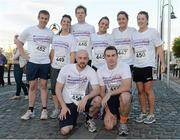 6 September 2012; The Dillon Eustace Team, back row, from left, Kevin Farrell, Aifric Corkery, Conor Daly, Amy McDonagh, Laura Goonan and Kate Price. Front row, Micheal Buckley and Daniel Blake before competing in the Grant Thornton Corporate 5k Team Challenge. CHQ Building, Docklands, Dublin. Picture credit: Pat Murphy / SPORTSFILE