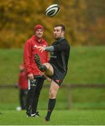 30 October 2017; JJ Hanrahan of Munster watched by defence coach Jacques Nienaber during Munster Rugby Squad Training at the University of Limerick in Limerick. Photo by Diarmuid Greene/Sportsfile
