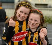 9 September 2012; Kilkenny supporters Aoife Doyle, eight years, and her sister Niamh, 5, ahead of the game. GAA Hurling All-Ireland Senior Championship Final, Kilkenny v Galway, Croke Park, Dublin. Picture credit: Ray McManus / SPORTSFILE