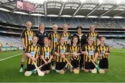9 September 2012; Representing Kilkenny camogie in the INTO/RESPECT Exhibition GoGames at the GAA Hurling All-Ireland Senior Championship Final between Kilkenny and Galway are, front row, from left, Chloe O'Neill, Kilnamona N.S., Kilnamona, Ennis, Co. Clare, Anne Smyth, St. Matthew's N.S., Ballymahon, Co. Longford, Holly Barrett, Ballon N.S., Ballon, Co. Carlow, Leah Gath, Scoil Naisuanta Naomh Eoin, An Rath, Birr, Co. Offaly, Aoife O'Dowd, Bunninadden N.S., Ballymote, Co. Sligo, Donna Mortimer, Camross N.S., Camross, Co. Laois, and back row, from left, Eimear Lenihan, Milford N.S., Milford, Charleville, Co. Cork,  Fiona Walsh, coach, Niamh Mc Cormack, Scoil Chualann, Bray, Co. Wicklow, Nicole Clancy, Mercy Convent Girls P.S., Naas, Co. Kildare, Anne Fay, INTO President, Louise Brennan, Paulstown N.S, Paulstown, Co. Kilkenny. Croke Park, Dublin. Picture credit: Pat Murphy / SPORTSFILE
