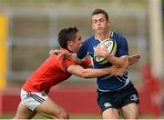 12 September 2012; James McCormack, Leinster, is tackled by Greg O'Shea, Munster. Under 18 Schools Interprovincial, Munster v Leinster, Thomond Park, Limerick. Picture credit: Stephen McCarthy / SPORTSFILE