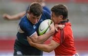 12 September 2012; Fergal Cleary, Leinster, is tackled by Greg O'Shea, Munster. Under 18 Schools Interprovincial, Munster v Leinster, Thomond Park, Limerick. Picture credit: Stephen McCarthy / SPORTSFILE