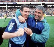 9 May 1993; Dublin's Jack Sheedy and Fran Ryder celebrate their victory in the Church & General National Football League final replay match between Dublin and Donegal at Croke Park in Dublin. Photo by Ray McManus/Sportsfile