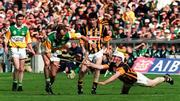 13 Sptember 1998. Joe Dooley Offaly in action against Tom Hickey Kilkenny, All Ireland Hurling Final, Croke Park. Picture Credit: Brendan Moran/SPORTSFILE.