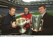 6 December 2002; Pictured at the launch of the draw for the Sigerson and Fitzgibbon cup with new sponsors Datapac are Diarmuid Fitzgerald, Tipperary, left, Stephen Lucey, Limerick, centre and Larry Banville, Datapac General Manager Wexford. Croke Park, Dublin. Picture credit; David Maher / SPORTSFILE