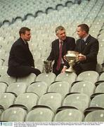 6 December 2002; Pictured at the launch of the draw for the Sigerson and Fitzgibbon cup with new sponsors Datapac are Michael Jordan, Wexford hurler and Datapac employee, left, David Laird, Datapac Managing Director and David Fitzgerald, Clare hurler. Croke Park, Dublin. Picture credit; David Maher / SPORTSFILE