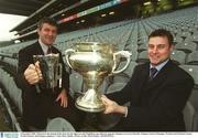 6 December 2002; Pictured at the launch of the draw for the Sigerson and Fitzgibbon cup with new sponsors Datapac are Larry Banville, Datapac General Manager, Wexford and Michael Jordan, Wexford hurler and Datapac employee. Croke Park, Dublin. Picture credit; David Maher / SPORTSFILE