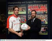 16 December 2002; Kieran McGeeney, All Star Armagh captain and player of the year pictured with Sean Kelly, President Elect of the GAA, Gaelic Gear in association with Kieran McGeeney launches their juvenile Gaelic collection for the young stars of the future, GAA Museum, Croke Park. Picture credit; Damien Eagers / SPORTSFILE