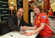 13 September 2012; Former Liverpool FC manager Rafa Benitez had a signing session for his book, Champions League Dreams, which is available from Eason stores nationwide and from easons.com. Benitez is pictured with Orla Haran, from Julianstown, Co. Meath. Rafa Benitez Book Signing, Easons, O'Connell Street, Dublin. Picture credit: Brian Lawless / SPORTSFILE