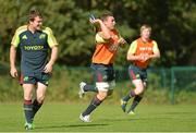 18 September 2012; Munster's Mike Sherry, Tommy O'Donnell and Danny Barnes in action during squad training ahead of their side's Celtic League, Round 4, match against Newport Gwent Dragons on Saturday. Cork Institute of Technology, Bishopstown, Cork. Picture credit: Diarmuid Greene / SPORTSFILE