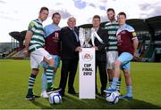 18 September 2012; Shamrock Rovers Director of football Brian Laws, third from right, and Drogheda United manager Mick Cooke, third from left, with players, from left to right, Billy Dennehy, Shamrock Rovers, Paul Crowley, Drogheda United, Ciaran Kilduff, Shamrock Rovers and Brian Gannon, Drogheda United, in attendance at the EA SPORTS Cup Final 2012 media day. Tallaght Stadium, Tallaght, Dublin. Picture credit: David Maher / SPORTSFILE