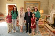 21 September 2012; Husband and wife, Robert and Marian Heffernan, and their children Cathal, age 7, and Meghan, age 9, with the President of Ireland Michael D. Higgins and his wife Sabina at a reception for the London 2012 Irish Olympic team at Aras an Uachtarain, Phoenix Park, Dublin. Picture credit: Brian Lawless / SPORTSFILE