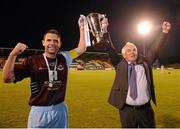 22 September 2012; Drogheda United manager Mick Cooke and captain Paul Crowley celebrate at the end of the game. 2012 EA SPORTS Cup Final, Shamrock Rovers v Drogheda United, Tallaght Stadium, Tallaght, Co. Dublin. Picture credit: David Maher / SPORTSFILE