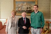 21 September 2012; Team Ireland's Mark Kenneally with the President of Ireland Michael D. Higgins and his wife Sabina at a reception for the London 2012 Irish Olympic team at  Aras an Uachtarain, Phoenix Park, Dublin. Picture credit: Brian Lawless / SPORTSFILE