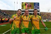 23 September 2012; Donegal players, from left, Michael Murphy, Neil Gallagher and Eamon McGee following their side's victory. GAA Football All-Ireland Senior Championship Final, Donegal v Mayo, Croke Park, Dublin. Picture credit: Stephen McCarthy / SPORTSFILE