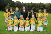 23 September 2012; Representing Donegal in the INTO/RESPECT Exhibition GoGames at the GAA Football All-Ireland Senior Championship Final between Donegal and Mayo are, front row, from left, Sarah Scally, Ballyleague N.S., Ballyleague, Co. Roscommon, Lauryn Nic Ghrioghar, Scoil Eanna An Uaimh, Co. Meath, Aine McNulty, St. Patrick's P.S., Dungannon, Co. Tyrone, Maria Rafferty, St. Patrick's P.S., Glen, Co. Derry, Andrea O'Reilly, The Vale N.S., Bailieborough, Co. Cavan, Kaiesha Tobin, St. Mary's N.S., Dungarvan, Co. Waterford. Back row, from left, Eimear Smyth, St. Patrick's P.S., Derrygonnelly, Co. Fermanagh, Tara Hughes, Ardnagrath N.S., Athlone, Co. Westmeath, Fiona Walsh, coach, Uachtarán Chumann Lúthchleas Gael Liam Ó Néill, Anne Fay, INTO President, Hannah Lohan, John Scottus School, Dublin, Sinead Dixon, Holy Family N.S., Rathcoole, Co. Dublin. Clonliffe College, Dublin. Picture credit: Pat Murphy / SPORTSFILE