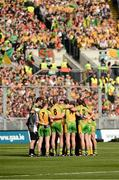 23 September 2012; Donegal team form a huddle before the start of the game. GAA Football All-Ireland Senior Championship Final, Donegal v Mayo, Croke Park, Dublin. Picture credit: David Maher / SPORTSFILE