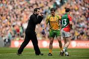 23 September 2012; Donegal selector Rory Gallagher, with Paddy McGrath, Donegal, and Enda Varley, Mayo. GAA Football All-Ireland Senior Championship Final, Donegal v Mayo, Croke Park, Dublin. Picture credit: David Maher / SPORTSFILE