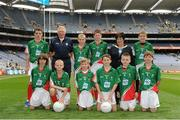 23 September 2012; Representing Mayo boys in the INTO/RESPECT Exhibition GoGames at the GAA Football All-Ireland Senior Championship Final between Donegal and Mayo are, front row, from left, Oisin Mullin, Roundfort N.S., Hollymount, Co. Mayo, John Joe McVicker, Edmund Rice CBS, Belfast, Co. Antrim, Rory Gavan, Annahorish P.S., Toome, Co. Derry, Ryan Cunningham, Abbey Primary School, Newry Co. Down, Darragh Flood, St. Peter Apostle SNS, Clondalkin, Dublin, Joshua Keane, Quinlivan Brierhill N.S., Brierhill, Co. Galway. Back row, from left, Jack Twomey, Dromahane N.S., Mallow, Co. Cork, Pat Monaghan, coach, Colm Joyce, St. Corban's N.S., Naas, Co. Kildare, Eoin Crilly, Saint and Scholars Integrated P.S., Armagh, Co. Armagh, Anne Fay, INTO President, Eoin O'Dwyer, Glasnevin Educate Together N.S., Co. Dublin. Croke Park, Dublin. Picture credit: Pat Murphy / SPORTSFILE