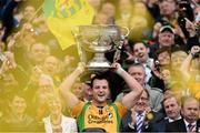 23 September 2012; Donegal captain Michael Murphy lifts the Sam Maguire Cup. GAA Football All-Ireland Senior Championship Final, Donegal v Mayo, Croke Park, Dublin. Picture credit: David Maher / SPORTSFILE