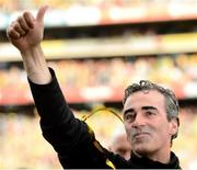 23 September 2012; Donegal manager Jim McGuinness celebrates after the game. GAA Football All-Ireland Senior Championship Final, Donegal v Mayo, Croke Park, Dublin. Picture credit: David Maher / SPORTSFILE