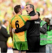 23 September 2012; Donegal manager Jim McGuinness celebrates with Karl Lacey at the end of the game. GAA Football All-Ireland Senior Championship Final, Donegal v Mayo, Croke Park, Dublin. Picture credit: David Maher / SPORTSFILE