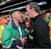 23 September 2012; Brian McEniff, Donegal All-Ireland winning manager in 1992, with Donegal manager Jim McGuinness after the game. GAA Football All-Ireland Senior Championship Final, Donegal v Mayo, Croke Park, Dublin. Picture credit: David Maher / SPORTSFILE