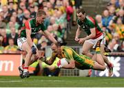 23 September 2012; Colm McFadden, Donegal, in action against Kevin Keane, left`, and Keith Higgins, Mayo. GAA Football All-Ireland Senior Championship Final, Donegal v Mayo, Croke Park, Dublin. Picture credit: David Maher / SPORTSFILE