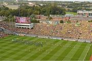 23 September 2012; The Donegal team leave the pre-match parade as it passes by Hill 16. GAA Football All-Ireland Senior Championship Final, Donegal v Mayo, Croke Park, Dublin. Picture credit: Brendan Moran / SPORTSFILE