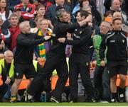 23 September 2012; Donegal manager Jim McGuinness and selector Rory Gallagher celebrate at the final whistle. GAA Football All-Ireland Senior Championship Final, Donegal v Mayo, Croke Park, Dublin. Picture credit: Brendan Moran / SPORTSFILE