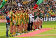 23 September 2012; The Donegal and Mayo players line-up before the start of the game. GAA Football All-Ireland Senior Championship Final, Donegal v Mayo, Croke Park, Dublin. Picture credit: Oliver McVeigh / SPORTSFILE