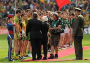 23 September 2012; The President of Ireland Michael D. Higgins and Uachtarán Chumann Lúthchleas Gael Liam Ó Néill are introduced to members of the Donegal team. GAA Football All-Ireland Senior Championship Final, Donegal v Mayo, Croke Park, Dublin. Picture credit: Oliver McVeigh / SPORTSFILE