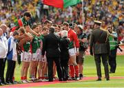 23 September 2012; The President of Ireland Michael D. Higgins and Uachtarán Chumann Lúthchleas Gael Liam Ó Néill are introduced to members of the Mayo team. GAA Football All-Ireland Senior Championship Final, Donegal v Mayo, Croke Park, Dublin. Picture credit: Oliver McVeigh / SPORTSFILE