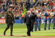 23 September 2012; The President of Ireland Michael D. Higgins with Uachtarán Chumann Lúthchleas Gael Liam Ó Néill after being introduced to the teams before the game. GAA Football All-Ireland Senior Championship Final, Donegal v Mayo, Croke Park, Dublin. Picture credit: Oliver McVeigh / SPORTSFILE