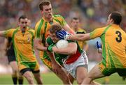 23 September 2012; Aidan O'Shea, Mayo in action against Eamon McGee and Neil McGee, Donegal. GAA Football All-Ireland Senior Championship Final, Donegal v Mayo, Croke Park, Dublin. Picture credit: Oliver McVeigh / SPORTSFILE