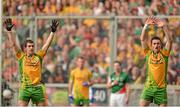 23 September 2012; Paddy McGrath, left, and David Walsh, Donegal, defend a Mayo free kick. GAA Football All-Ireland Senior Championship Final, Donegal v Mayo, Croke Park, Dublin. Picture credit: Brendan Moran / SPORTSFILE