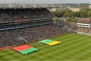 23 September 2012; Large flags in the Mayo and Donegal colours out on the pitch as they await the arrival of the teams. GAA Football All-Ireland Senior Championship Final, Donegal v Mayo, Croke Park, Dublin. Picture credit: Brendan Moran / SPORTSFILE