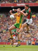 23 September 2012; Neil Gallagher, Donegal, in action against Barry Moran, Mayo. GAA Football All-Ireland Senior Championship Final, Donegal v Mayo, Croke Park, Dublin. Picture credit: Brendan Moran / SPORTSFILE