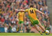 23 September 2012; Michael Murphy, Donegal, takes a free kick. GAA Football All-Ireland Senior Championship Final, Donegal v Mayo, Croke Park, Dublin. Picture credit: Brendan Moran / SPORTSFILE