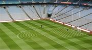 23 September 2012; A member of the Croke Park grounds staff out marking the lines early in the morning on All-Ireland day. GAA Football All-Ireland Senior Championship Final, Donegal v Mayo, Croke Park, Dublin. Picture credit: Oliver McVeigh / SPORTSFILE