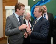 26 September 2012; In attendance at the official opening of the new offices of Leinster Rugby are former Irish rugby international Brendan Mullin, left, and An Taoiseach Enda Kenny T.D. Leinster Rugby, UCD, Belfield, Dublin. Picture credit: Matt Browne / SPORTSFILE