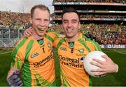 23 September 2012; Donegal's Anthony Thompson, left, and Karl Lacey celebrate after the game. GAA Football All-Ireland Senior Championship Final, Donegal v Mayo, Croke Park, Dublin. Picture credit: Ray McManus / SPORTSFILE