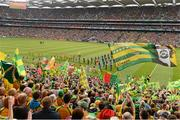 23 September 2012; Donegal and Mayo supporters cheer on the teams during the pre-match parade. GAA Football All-Ireland Senior Championship Final, Donegal v Mayo, Croke Park, Dublin. Picture credit: Ray McManus / SPORTSFILE