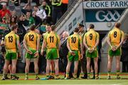 23 September 2012; Michael D. Higgins, President of Ireland, and Uachtarán Chumann Lúthchleas Gael Liam Ó Néil, hidden, meet the Donegal players before the game. GAA Football All-Ireland Senior Championship Final, Donegal v Mayo, Croke Park, Dublin. Picture credit: Ray McManus / SPORTSFILE