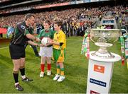 23 September 2012; Mascots Jack Malone, left, Mayo, and Jamie Crawford, Donegal, alongside the Sam Maguire Cup, present the match football to referee Maurice Deegan before the start of the game. GAA Football All-Ireland Senior Championship Final, Donegal v Mayo, Croke Park, Dublin. Picture credit: Ray McManus / SPORTSFILE