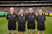 23 September 2012; Referee Maurice Deegan with, from left, fourth official Conor Lane, linesmen Eddie Kinsella and David Goldrick before the game. GAA Football All-Ireland Senior Championship Final, Donegal v Mayo, Croke Park, Dublin. Picture credit: Ray McManus / SPORTSFILE
