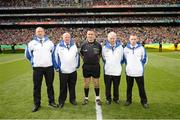 23 September 2012; Referee Maurice Deegan with his umpires before the game. GAA Football All-Ireland Senior Championship Final, Donegal v Mayo, Croke Park, Dublin. Picture credit: Ray McManus / SPORTSFILE