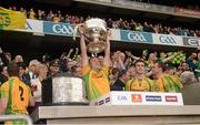 23 September 2012; Colm McFadden, Donegal, lifts the Sam Maguire Cup. GAA Football All-Ireland Senior Championship Final, Donegal v Mayo, Croke Park, Dublin. Picture credit: Ray McManus / SPORTSFILE